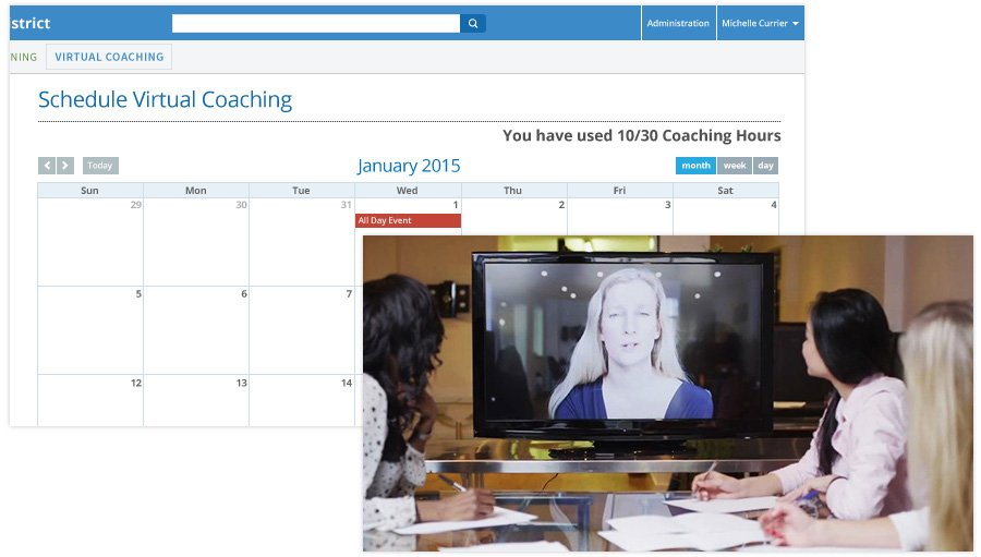 Scheduling calendar for virtual coaching