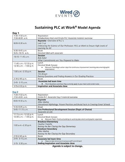 Sustaining PLC Model Agenda